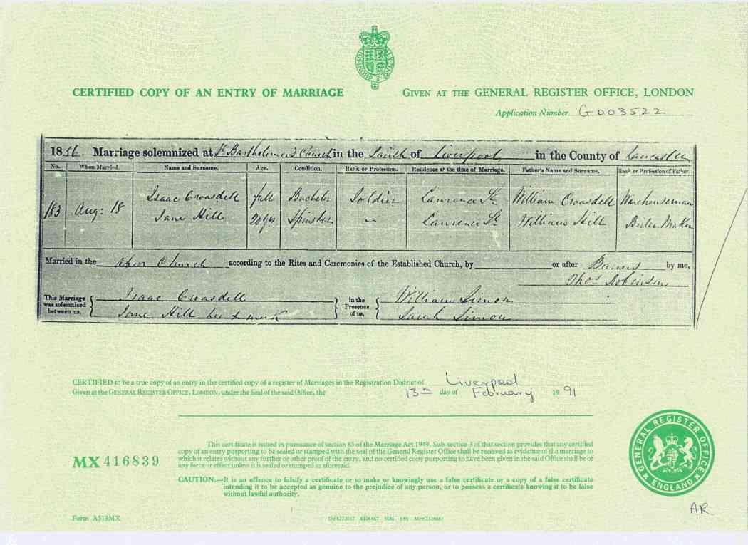 Wedding Certificate 1856