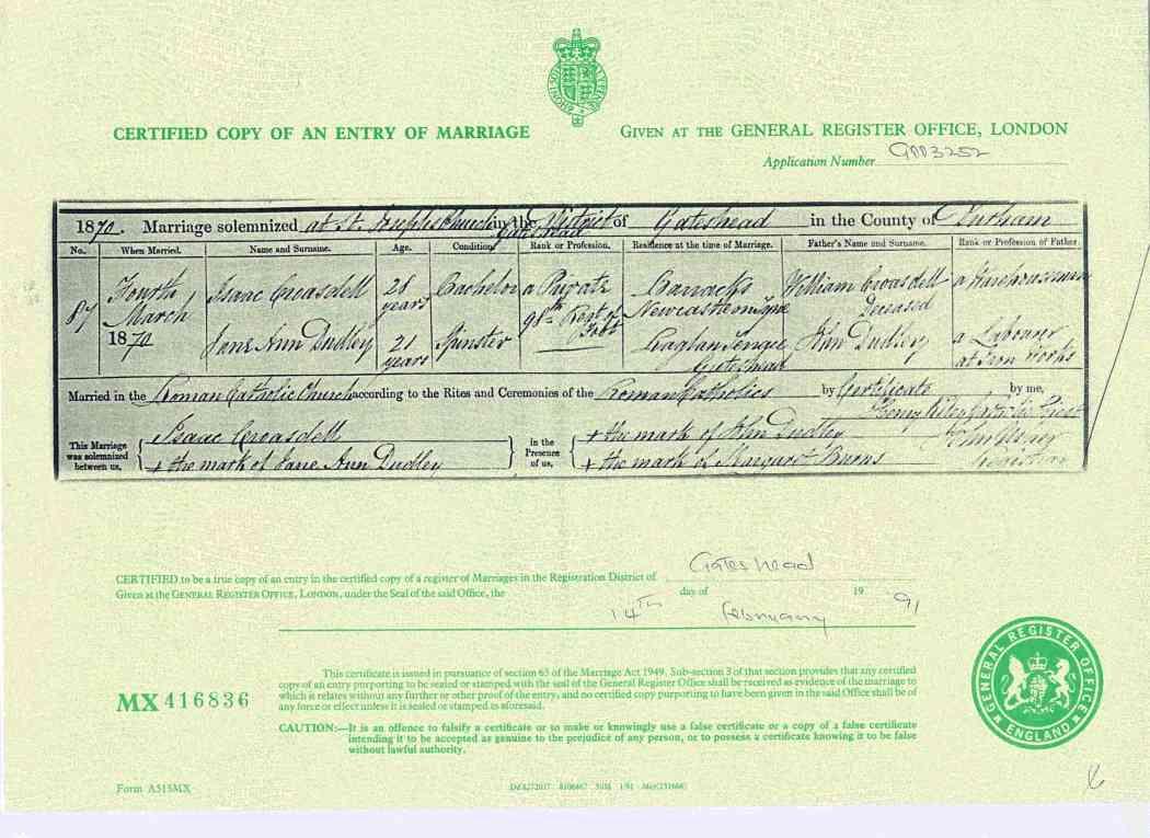 Wedding Certificate 1870
