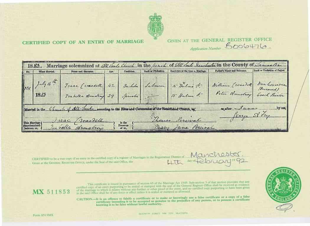 Wedding Certificate 1883